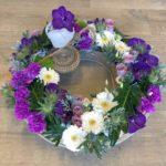 Couronne fleurs naturelles enterrement, fleuriste enterrement, livraison fleurs deuil, muzillac, ambon ,surzur, damgn